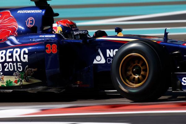 Yas Marina Circuit, Abu Dhabi, United Arab Emirates. Wednesday 26 November 2014. Max Verstappen, Toro Rosso STR9 Renault.  World Copyright: Glenn Dunbar/LAT Photographic. ref: Digital Image _89P0146