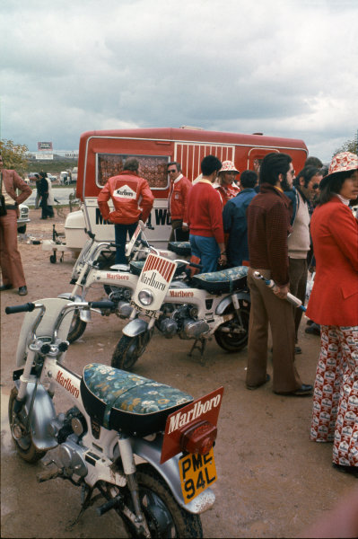 1974 Spanish Grand Prix.  Jarama, Madrid, Spain. 26-28th April 1974.  Marlboro caravan and scooters in the paddock.  Ref: 74ESP19. World Copyright: LAT Photographic