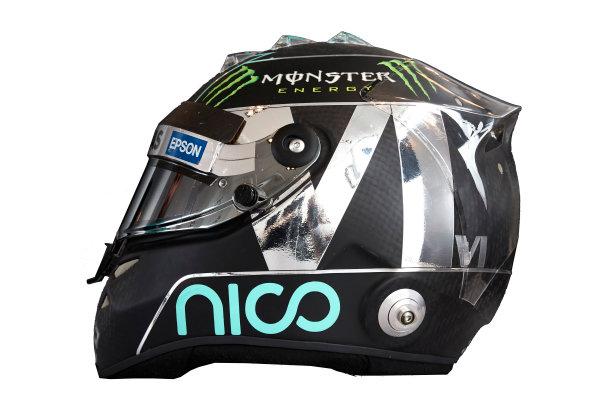 Circuit de Catalunya, Barcelona, Spain. Wednesday 25 February 2015. Helmet of Nico Rosberg, Mercedes AMG.  World Copyright: Mercedes AMG F1 (Copyright Free FOR EDITORIAL USE ONLY) ref: Digital Image 2015_MERCEDES_HELMET_09