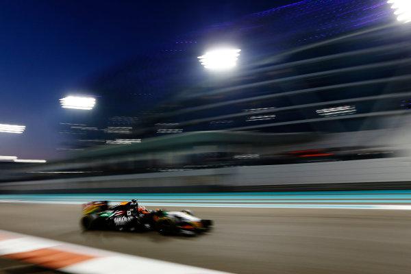 Yas Marina Circuit, Abu Dhabi, United Arab Emirates. Sunday 23 November 2014. Nico Hulkenberg, Force India VJM07 Mercedes. World Copyright: Sam Bloxham/LAT Photographic. ref: Digital Image _SBL7128