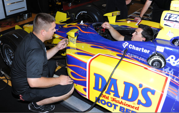 19-20 June, 2010, Newton, iowa USA#24 Dad's Root Beer Dreyer & Reinbold Racing's Graham Rahal getting mirrors adjusted in his new ride.©Dan R. Boyd,USA LAT Photographic