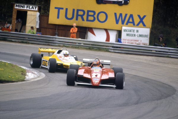 1982 Belgian Grand Prix.Zolder, Belgium. 9 May 1982.Gilles Villeneuve, Ferrari 126C2, did not start/fatal accident, leads Manfred Winkelhock, ATS D5-Ford, in practice, action.World Copyright: LAT PhotographicRef: 35mm transparency 82BEL