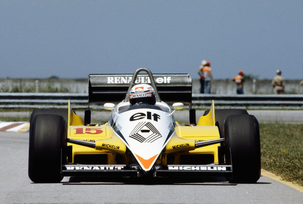 Jacarepagua, Rio de Janeiro, Brazil.11-13 March 1983.Alain Prost (Renault RE30C) 7th position.Ref-83 BRA 31.World Copyright - LAT Photographic