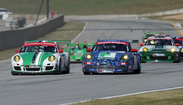 29 September-2 October, 2010, Braselton, Georgia USA.#63 The Racer's Group Porsche 911 GT3 Cup with #54 Porsche followed by #99 Oreca and #77 Porsche.©2010 Dan R. Boyd, USA LAT Photographic.