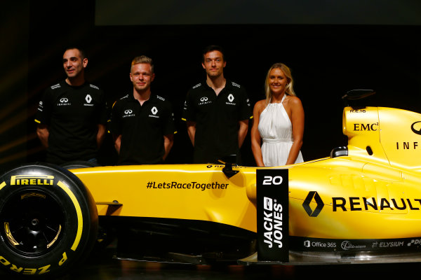 Albert Park, Melbourne, Australia. Wednesday 16 March 2016. Cyril Abiteboul, Managing Director, Renault Sport F1, Kevin Magnussen, Renault Sport F1, Jolyon Palmer, Renault Sport F1 and professional surfer Ellie-Jean Coffey on stage with the Renault RS16. World Copyright: Andy Hone/LAT Photographic ref: Digital Image _ONZ9909