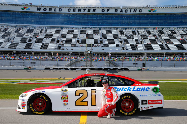 13-21 February, 2016, Daytona Beach, Florida USA   Ryan Blaney, driver of the #21 Motorcraft/Quick Lane Tire & Auto Center Ford, poses with his car after qualifying for the NASCAR Sprint Cup Series Daytona 500 at Daytona International Speedway on February 14, 2016 in Daytona Beach, Florida.   LAT Photo USA via NASCAR via Getty Images