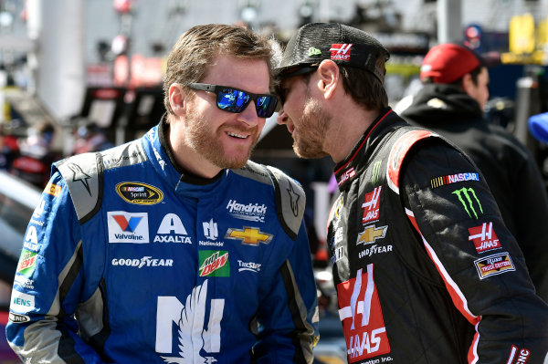 15-17 April, 2016, Bristol, Tennessee USA Dale Earnhardt Jr and Kurt Busch ? 2016, Nigel Kinrade LAT Photo USA