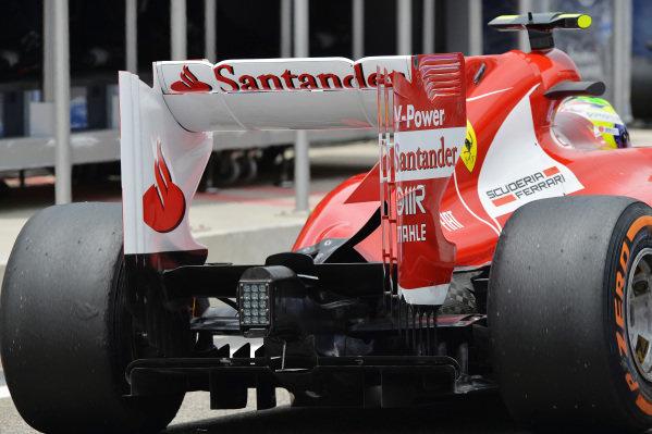 Felipe Massa (BRA) Ferrari F138 rear. Formula One World Championship, Rd4, Bahrain Grand Prix, Practice, Bahrain International Circuit, Sakhir, Bahrain, Friday 19 April 2013.