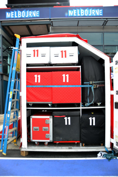 Freight is unloaded.Formula One World Championship, Rd1, Australian Grand Prix, Preparations, Albert Park, Melbourne, Australia, Monday 11 March 2013.