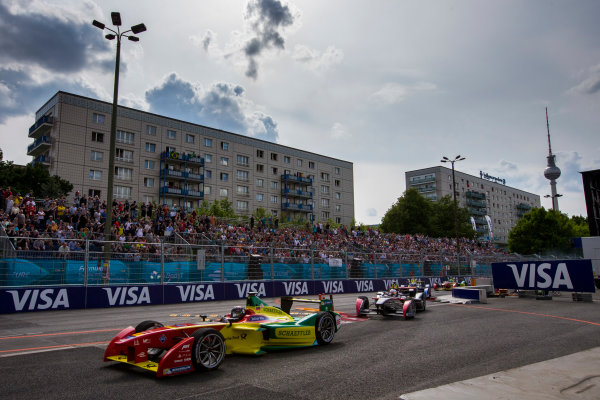 2015/2016 FIA Formula E Championship. Berlin ePrix, Berlin, Germany. Saturday 21 May 2016. Daniel Abt (GER), ABT Audi Sport FE01 leads Sam Bird (GBR), DS Virgin Racing DSV-01 and the rest of the field at the start of the race. Photo: Zak Mauger/LAT/Formula E ref: Digital Image _79P2968