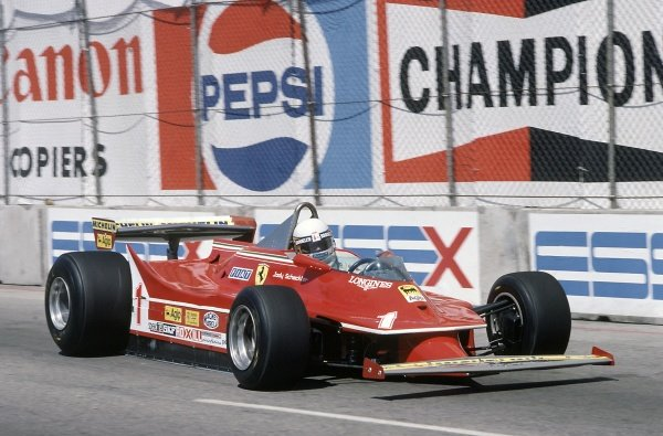 1980 United States Grand Prix West.Long Beach, California, USA. 28-30 March 1980.Jody Scheckter (Ferrari 312T5), 5th position.World Copyright: LAT PhotographicRef: 35mm transparency 80LB04