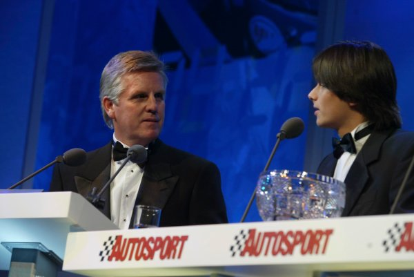 2003 AUTOSPORT AWARDS, The Grosvenor, London. 7th December 2003.Nelson Piquet Jnr, winner of the Paul Warwick trophy for National Driver with compere, Steve Rider.Photo: Peter Spinney/LAT PhotographicRef: Digital Image only