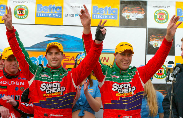 2003 Australian V8 Supercars, Round 9, Sandown, 14th September 2003.FORD Falcon BA drivers Steve Ellery and Louke Youlden on the podium after finishing second in the Betta Electrical 500 held at Melbournes Sandown International Raceway today. Ellery and Youlden finished second.Photo: Mark Horsburgh/LAT Photographic