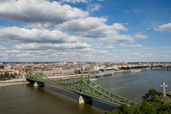 Hungaroring, Budapest, Hungary. Monday 5 June 2017. A view of the city, Liberty Bridge and the Danube River. World Copyright: Zak Mauger/LAT Images ref: Digital Image _56I0504