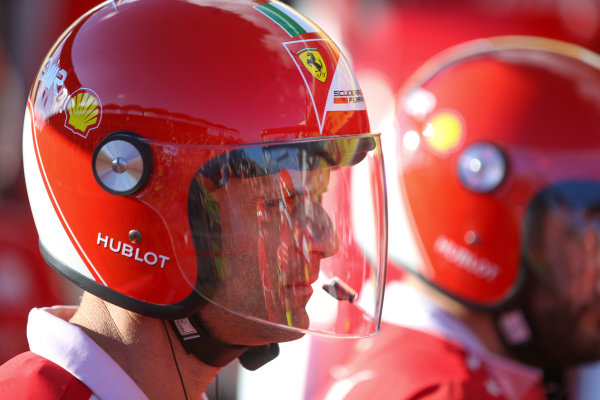 Hungaroring, Budapest, Hungary.  Thursday 27 July 2017. Ferrari pit crew with helmet on. World Copyright: Coates/LAT Images  ref: Digital Image DJ5R0905