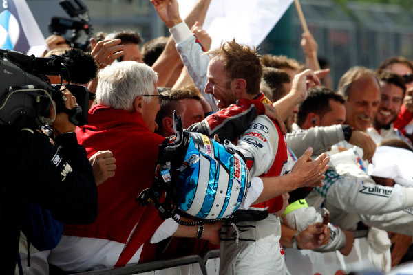 2017 DTM Round 3 Hungaroring, Budapest, Hungary. Sunday 18 June 2017. Race winner René Rast, Audi Sport Team Rosberg, Audi RS 5 DTM World Copyright: Alexander Trienitz/LAT Images ref: Digital Image 2017-DTM-R3-HUN-AT1-2659