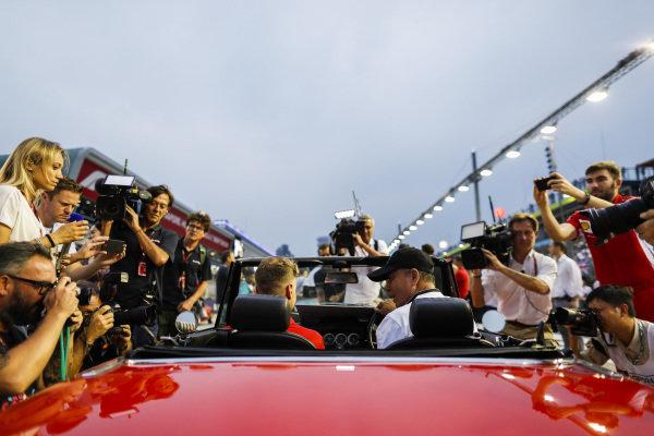 Sebastian Vettel, Ferrari, at the drivers parade