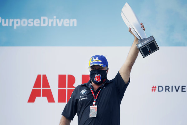 Michael Andretti, Team Owner, BMW I Andretti Motorsports, on the podium with the teams trophy