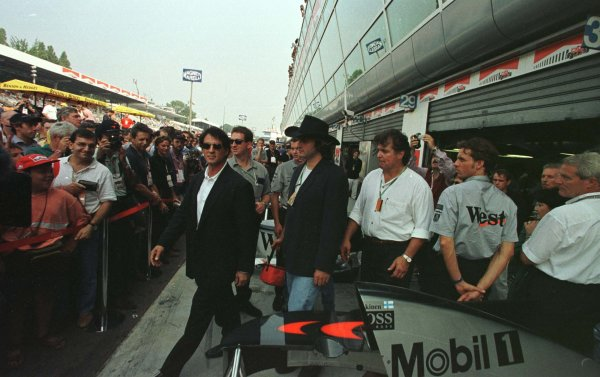 1997 Italian Grand Prix.Monza, Italy.5-7 September 1997.Sylvester Stallone in the pit lane.World Copyright - Coates/LAT Photographic