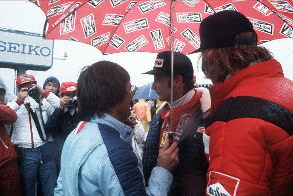 Bernie Ecclestone, Niki Lauda, and James Hunt.