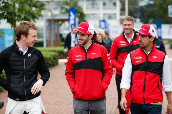 Oliver Turvey (GBR), NIO Formula E Team, Daniel Abt (DEU), Audi Sport ABT Schaeffler and Lucas Di Grassi (BRA), Audi Sport ABT Schaeffler walk to the autograph session