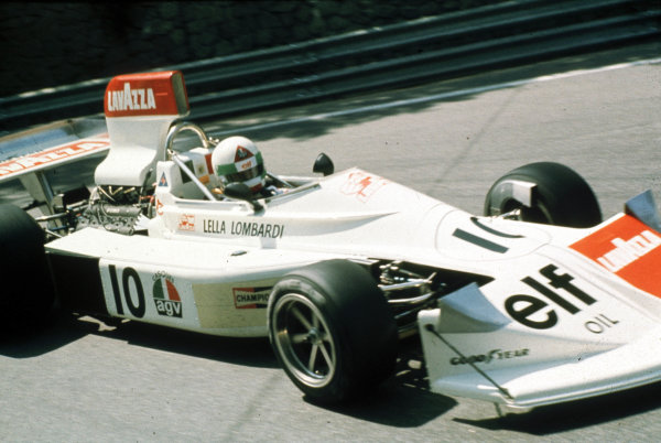 1975 Spanish Grand Prix.Montjuich Park, Barcelona, Spain.25-27 August 1975.Lella Lombardi (Lavazza March 751 Ford) 6th position. The only woman to finish in the World Championship points to date.World Copyright- LAT Photographic