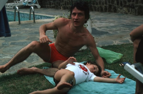 1977 Formula 1 World Championship.Patrick Depailler (Tyrrell-Ford Cosworth) relaxes by the pool.Ref-D2A 06.World - LAT Photographic