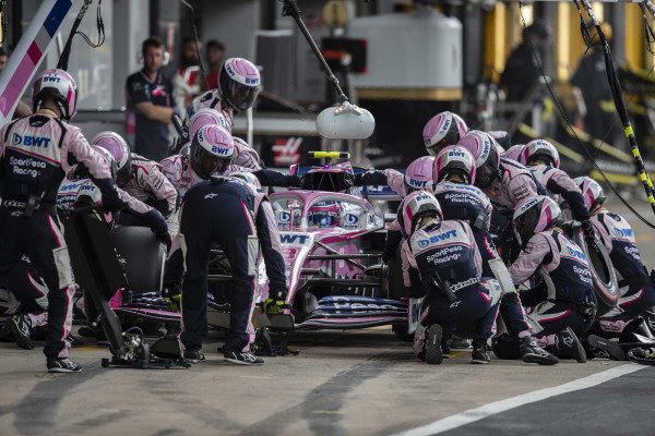 Lance Stroll, Racing Point RP19, pit stops