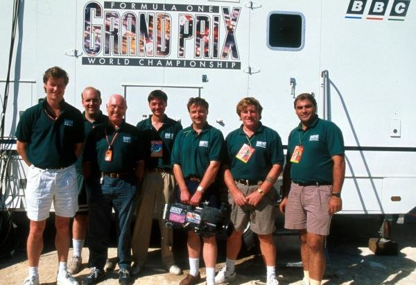 The BBC Grand Prix team, including commentator Murray Walker (GBR) (Third from left).  1995 Formula One World Championship