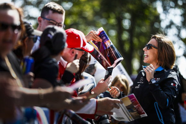 Claire Williams, Deputy Team Principal, Williams Racing signs autographs for fans