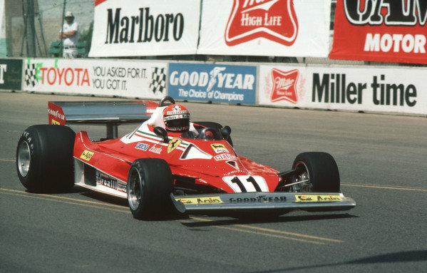 1977 United States Grand Prix West.Long Beach, California, USA.1-3 April 1977.Niki Lauda (Ferrari 312T2) 2nd position.Ref-77 LB 03.World Copyright - LAT Photographic