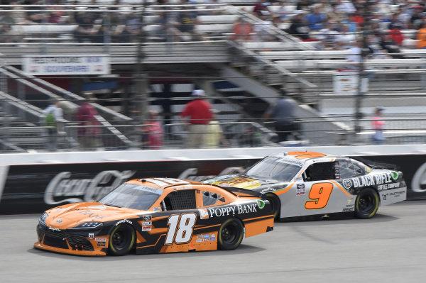 #18: Daniel Hemric, Joe Gibbs Racing, Toyota Supra Poppy Bank, #9: Noah Gragson, JR Motorsports, Chevrolet Camaro Bass Pros Shops/TrueTimber/BRCC