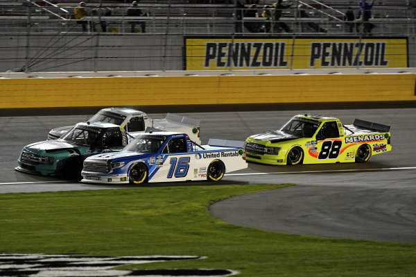 #16: Austin Hill, Hattori Racing Enterprises, Toyota Tundra United Rentals, #13: Johnny Sauter, ThorSport Racing, Ford F-150 Tenda, #40: Ross Chastain, Niece Motorsports, Chevrolet Silverado Niece, #88: Matt Crafton, ThorSport Racing, Ford F-150 Damp Rid / Menards