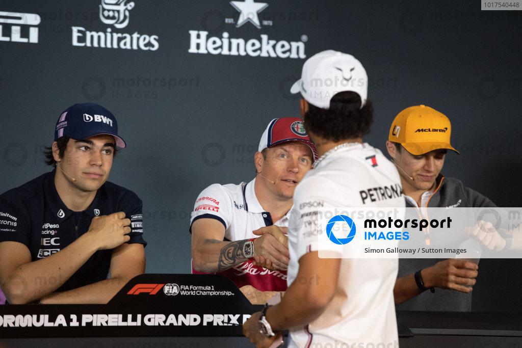 Lance Stroll, Racing Point, Kimi Raikkonen, Alfa Romeo Racing, Lewis Hamilton, Mercedes AMG F1, and Lando Norris, McLaren