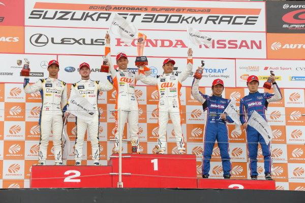 The GT500 podium. Kazuki Nakajima & Yuhi Sekiguchi, Lexus Team au TOM'S LC500, raise their trophy, between Ryo Hirakawa & Nick Cassidy, KeePer TOM'S Lexus LC500, 2nd, and Kazuya Oshima & Kenta Yamashita, Lexus Team LeMans Wako's 4CR LC500, 3rd