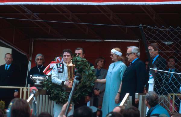 1978 Monaco Grand Prix.Monte Carlo, Monaco.5-7 May 1978.Patrick Depailler (Tyrrell Ford) 1st position on the podium with HSH Prince Rainier and Princess Grace of Monaco.Ref-78 MON 11.World Copyright - LAT Photographic