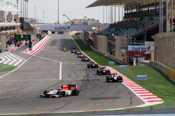 2017 FIA Formula 2 Round 1. Bahrain International Circuit, Sakhir, Bahrain.  Sunday 16 April 2017. Stefano Coletti (MON, Campos Racing), Sergio Canamasas (ESP, Trident)  Photo: Zak Mauger/FIA Formula 2. ref: Digital Image _56I1911
