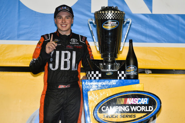NASCAR Camping World Truck Series Ford EcoBoost 200 Homestead-Miami Speedway, Homestead, FL USA Friday 17 November 2017 Christopher Bell, JBL Toyota Tundra celebrates winning the 2017 NASCAR Camping world Truck Series Championship World Copyright: Nigel Kinrade LAT Images