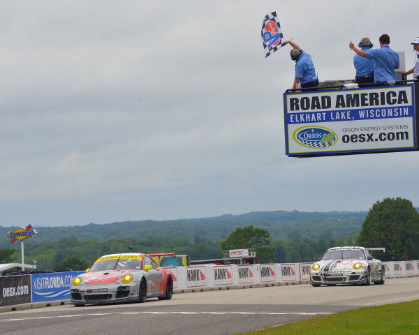 9-11 August, 2013, Elkhart Lake, Wisconsin USA #45 Flying Lizard Motorsport taking checkered flag and win in GTC class ©Dan R. Boyd LAT Photo USA