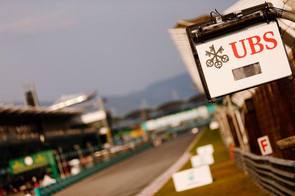 Sepang International Circuit, Sepang, Kuala Lumpur, Malaysia. Thursday 26 March 2015. UBS branded flag light. World Copyright: Alastair Staley/LAT Photographic. ref: Digital Image _79P0839