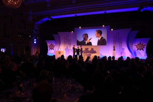 Grand Connaught Rooms, London, England. 3rd December 2012. BRDC Silver Star winner Gordon Shedden on stage. World Copyright: Jakob Ebrey/LAT Photographic ref: Digital Image Shedden-07