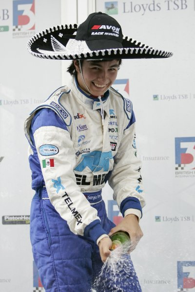 2007 British Formula Three Championship.Silverstone, England. 11th and 12th August 2007.Sergio Perez (T Sport) on the podium.Portrait.World Copyright: Drew Gibson/LAT