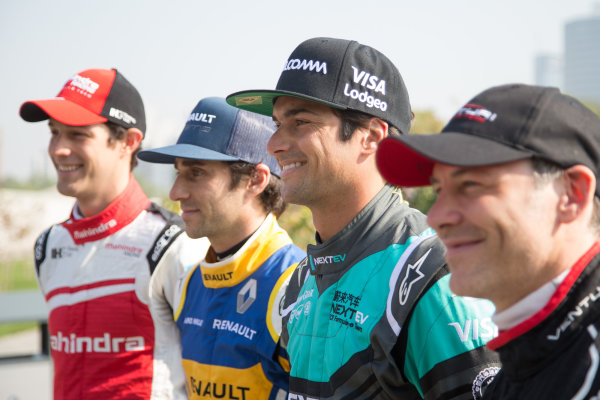 FIA Formula E Championship 2015/16. Beijing ePrix, Beijing, China. Famous offspring and Formula E driver's (L to R) Bruno Senna, Nico Prost, Nelson Piquet Jr and Jacques Villeneuve  Beijing, China, Asia. Friday 23 October 2015 Photo:  / LAT / FE ref: Digital Image _L1_3264