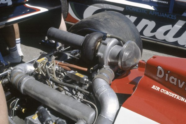 1981 Spanish Grand Prix.Jarama, Spain. 19-21 June 1981.The Hart turbocharged engine in the Toleman TG181.World Copyright: LAT PhotographicRef: 35mm transparency 81ESP22