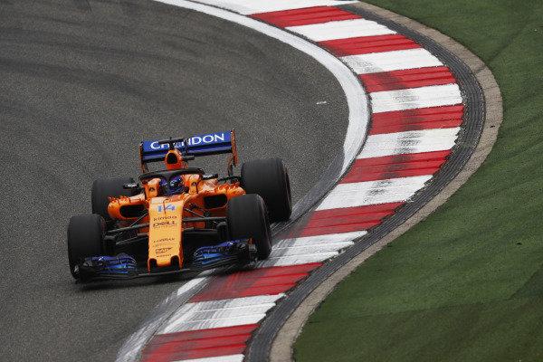 Shanghai International Circuit, Shanghai, China Friday 13 April 2018. Fernando Alonso, McLaren MCL33 Renault. Photo: Glenn Dunbar/McLaren ref: Digital Image _X4I9298