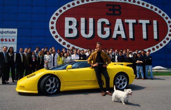 Michael Schumacher Visits Bugatti Factory to collect his own Bugatti EB110. 1995.