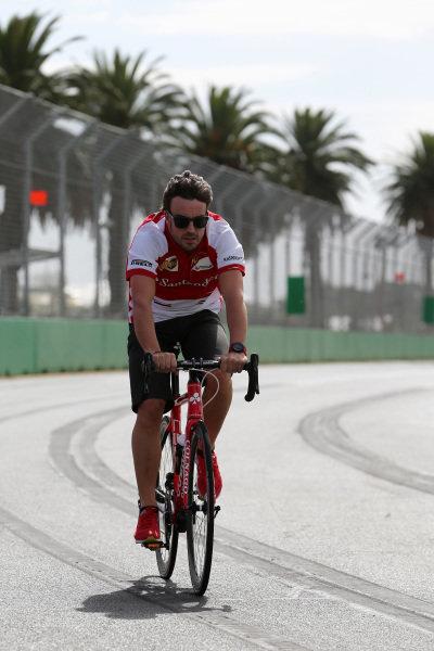 Fernando Alonso (ESP) Ferrari cycles the track. Formula One World Championship, Rd1, Australian Grand Prix, Preparations, Albert Park, Melbourne, Australia, Wednesday 13 March 2013.