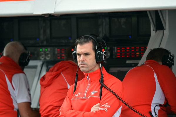 Marc Hynes (GBR) Marussia F1 driver coach. Formula One World Championship, Rd9, German Grand Prix, Practice, Nurburgring, Germany, Friday 5 July 2013.