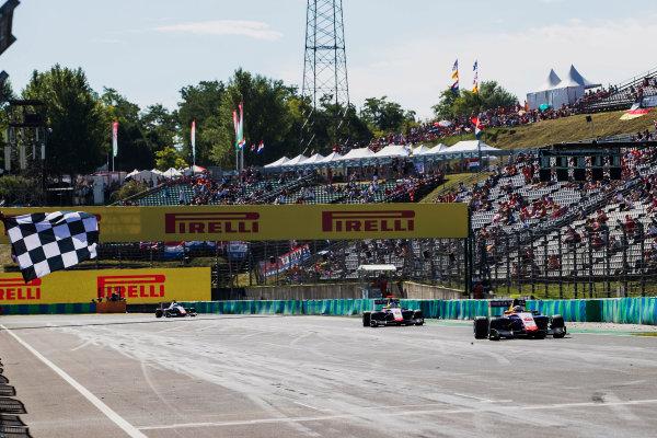 2017 GP3 Series Round 4.  Hungaroring, Budapest, Hungary. Sunday 30 July 2017. Giuliano Alesi (FRA, Trident), takes the chequered flag. Photo: Zak Mauger/GP3 Series Media Service. ref: Digital Image _54I4298