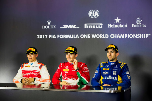 2017 FIA Formula 2 Round 4. Baku City Circuit, Baku, Azerbaijan. Saturday 24 June 2017. Nyck De Vries (NED, Rapax), Charles Leclerc (MCO, PREMA Racing) and Nicholas Latifi (CAN, DAMS) in the post-race press conference. Photo: Zak Mauger/FIA Formula 2. ref: Digital Image _56I7757